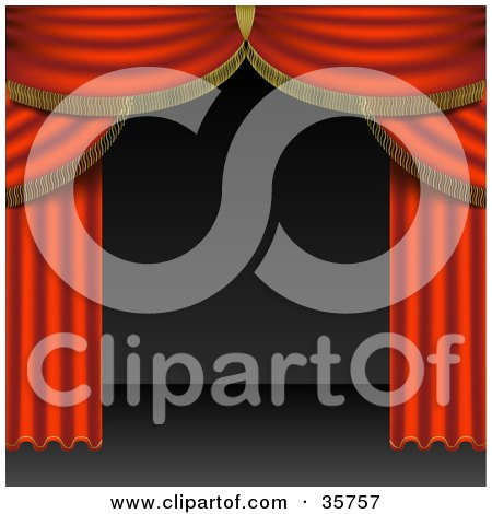 Clipart Illustration of Open Red Stage Curtains Pulled To The Side Of An Empty Stage by dero