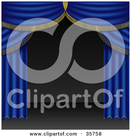 Clipart Illustration of Open Blue Stage Curtains Pulled To The Side Of An Empty Stage by dero