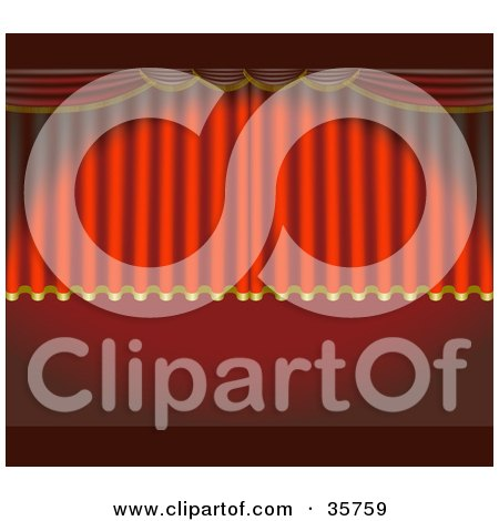 Clipart Illustration of a Spotlight Shining On Rising Red Theater Curtains by dero