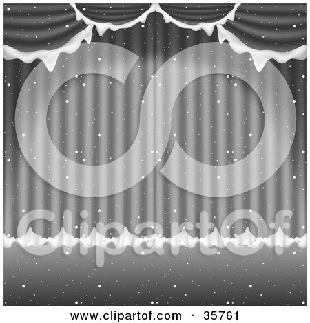 Clipart Illustration of a Spotlight Shining On Silver Theater Curtains Flocked In Snow, With Snow Falling Down by dero