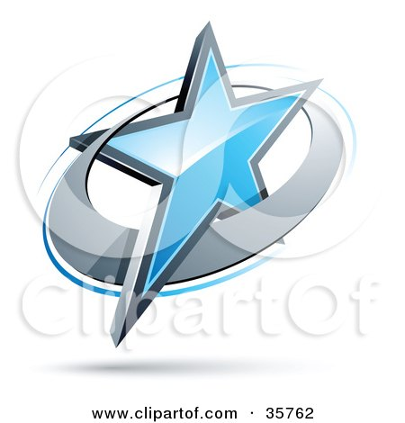 Clipart Illustration of a Pre-Made Logo Of A Blue Star In A Chrome Circle by beboy