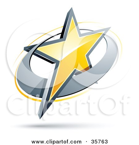 Clipart Illustration of a Pre-Made Logo Of A Yellow Star In A Chrome Circle by beboy