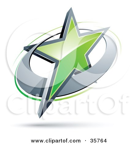 Clipart Illustration of a Pre-Made Logo Of A Green Star In A Chrome Circle by beboy