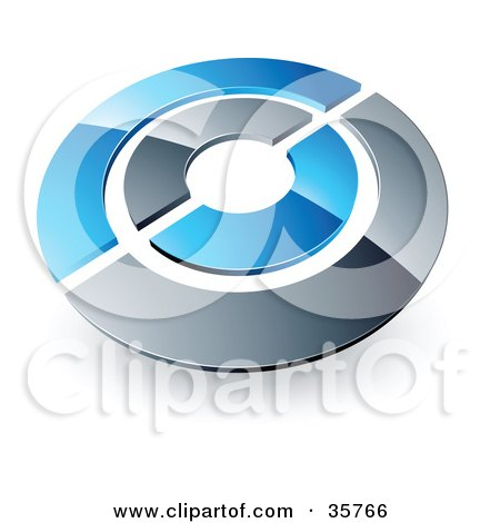 Clipart Illustration of a Pre-Made Logo Of A Blue And Orange Target Or Circles by beboy