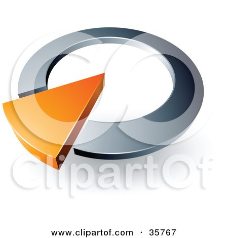 Clipart Illustration of a Pre-Made Logo Of An Orange Arrow In A Silver Circular Dial by beboy