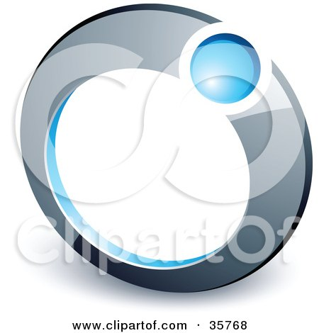 Clipart Illustration of a Pre-Made Logo Of A Blue Ball In A Chrome Ring by beboy