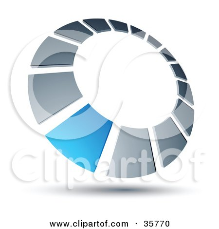 Clipart Illustration of a Pre-Made Logo Of A Blue Square In A Chrome Dial by beboy