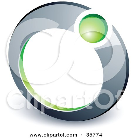 Clipart Illustration of a Pre-Made Logo Of A Green Ball In A Chrome Ring by beboy