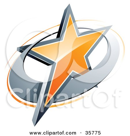 Clipart Illustration of a Pre-Made Logo Of An Orange Star In A Chrome Circle, Above Space For A Business Name And Company Slogan by beboy