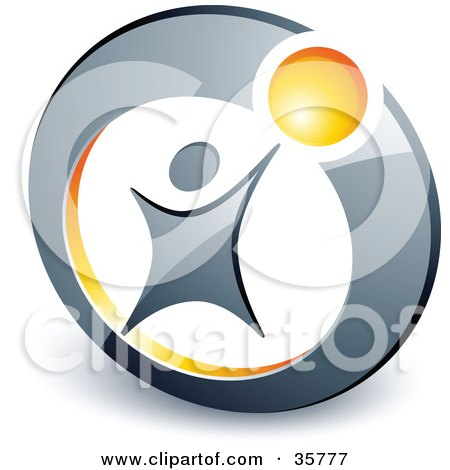 Clipart Illustration of a Pre-Made Logo Of A Person Reaching Up To A Yellow Ball In A Circle by beboy