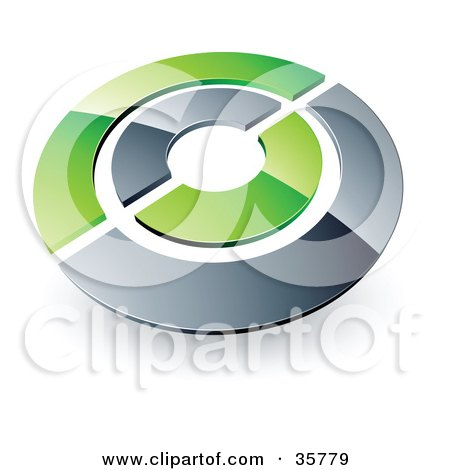 Clipart Illustration of a Pre-Made Logo Of A Chrome And Green Target Or Circles by beboy