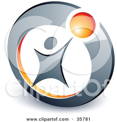 Clipart Illustration of a Pre-Made Logo Of A Person Reaching Up To An Orange Ball In A Circle by beboy