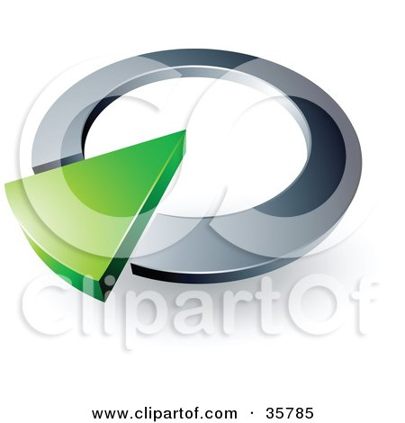 Clipart Illustration of a Pre-Made Logo Of A Green Arrow In A Silver Circular Dial by beboy