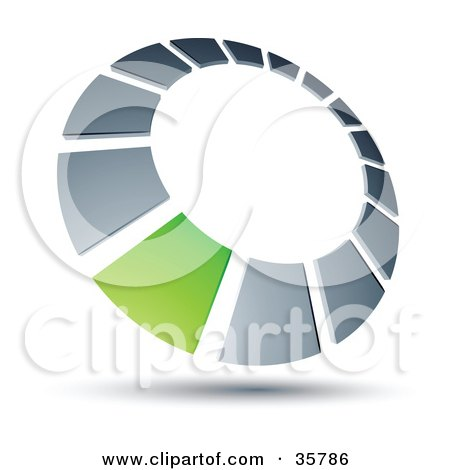 Clipart Illustration of a Pre-Made Logo Of A Green Square In A Chrome Dial by beboy