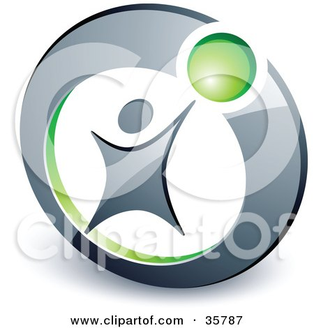 Clipart Illustration of a Pre-Made Logo Of A Person Reaching Up To A Green Ball In A Circle by beboy