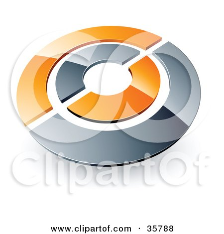 Clipart Illustration of a Pre-Made Logo Of A Chrome And Orange Target Or Circles by beboy