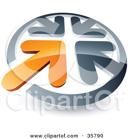 Clipart Illustration of a Pre-Made Logo Of An Orange Arrow Standing Out In A Circle Of Chrome Arrows by beboy