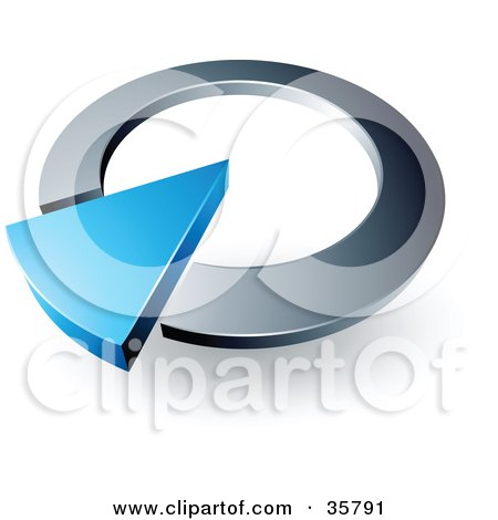 Clipart Illustration of a Pre-Made Logo Of A Blue Arrow In A Silver Circular Dial by beboy
