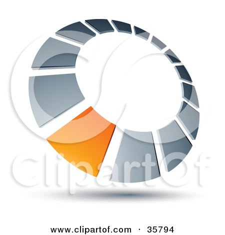 Clipart Illustration of a Pre-Made Logo Of An Orange Square In A Chrome Dial by beboy