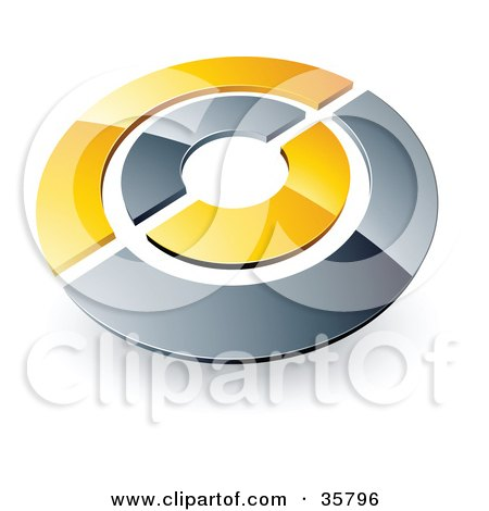 Clipart Illustration of a Pre-Made Logo Of A Chrome And Yellow Target Or Circles by beboy