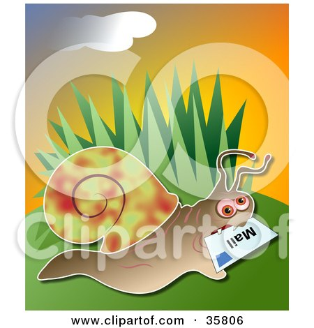 Clipart Illustration of a Snail Delivering Mail, A Letter In His Mouth by Prawny