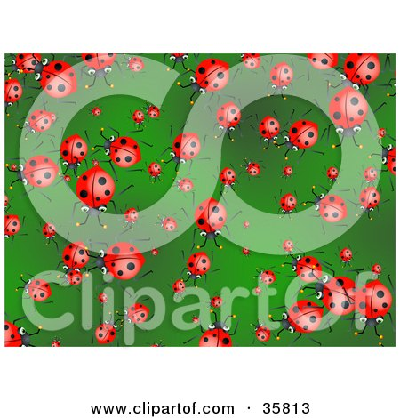 Clipart Illustration of a Background Of Crowding Ladybugs On A Green Leaf by Prawny
