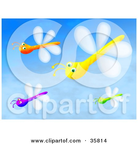 Clipart Illustration of a Group Of Purple, Orange, Yellow And Green Dragonflies Flying In A Blue Sky by Prawny