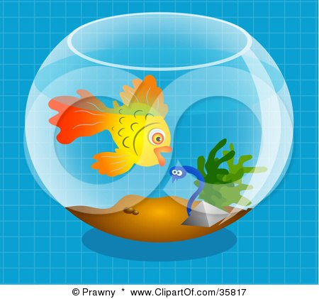 Clipart Illustration of a Goldfish In A Bowl, Preparing To Eat A Scared Little Worm by Prawny