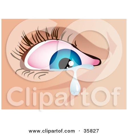 Clipart Illustration of a Blue Woman's Eye Shedding A Tear by Prawny