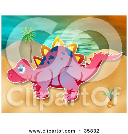 Clipart Illustration of a Pink Stegosaur Dinosaur With White Spikes And Purple Spots, In A Prehistoric Landscape by Prawny