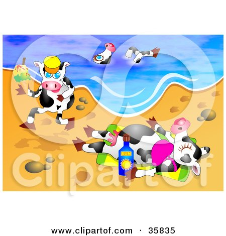 Clipart Illustration of Three Dairy Cows On Vacation, Swimming, Running And Sun Bathing On A Warm Sunny Beach  by Prawny