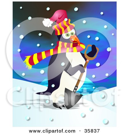 Cold Penguin In A Scarf And A Hat, Shoveling Snow On A Snowing Day Posters, Art Prints