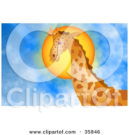 Clipart Illustration of a Majestic Giraffe Standing Tall In Front Of The Sun In A Blue Cloudy Sky by Prawny