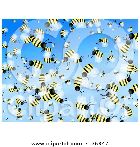 Clipart Illustration of a Crazy Crowd Of Busy Honeybees Flying In A Blue Sky by Prawny