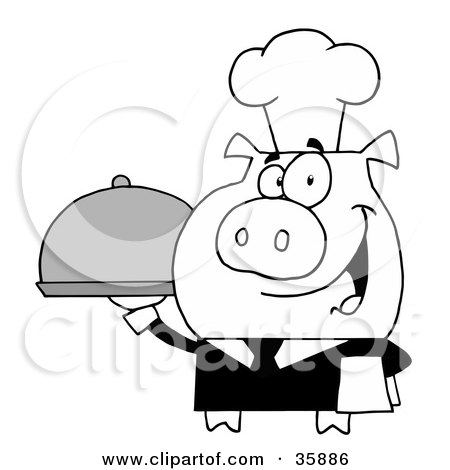 Clipart Illustration of a Black And White Waiter Pig Serving Food On A Platter by Hit Toon