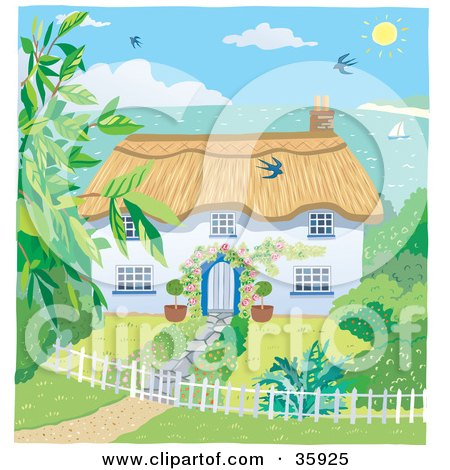 Clipart Illustration of a Cute Cottage With A Landscaped Yard, Overlooking The Coast On A Sunny Day by Lisa Arts
