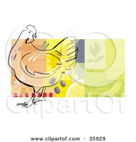 Clipart Illustration of a Chicken Outline With Veggies, Seasonings And Food On A Colorful Background, Bordered In White by Lisa Arts