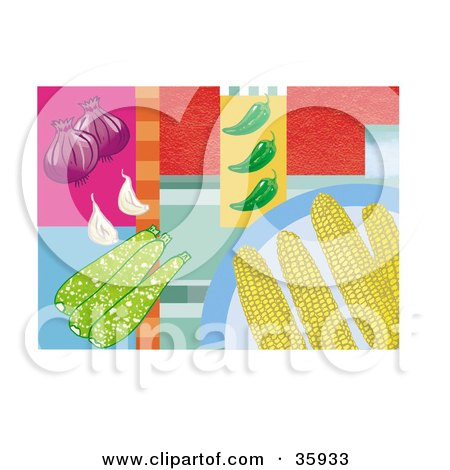 Clipart Illustration of Corn Cobs On A Plate, Over A Colorful Background With Onions, Zucchini, Peppers And Garlic by Lisa Arts