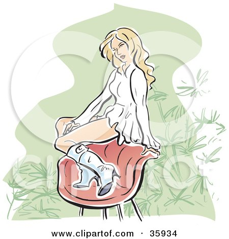 Pretty Blond Caucasian Woman In A Ruffled Dress And Boots, Sitting On The Back Of A Chair Posters, Art Prints