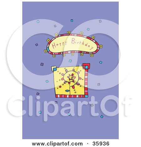 Clipart Illustration of a Spiraling Flower With Colorful Confetti And A Happy Birthday Greeting by Lisa Arts