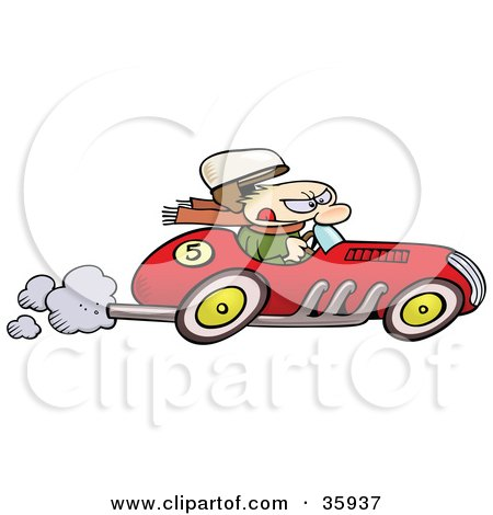 Clipart Illustration of a Caucasian Man's Hat Flying Off As He Races A Vintage Red Race Car by gnurf