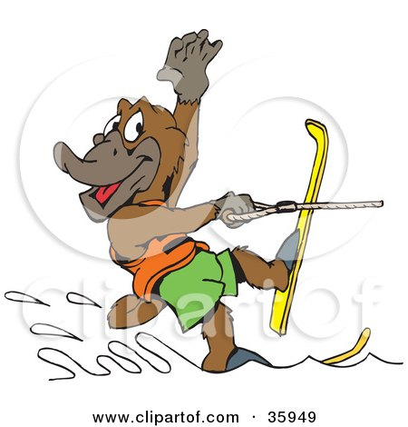 Clipart Illustration of a Platypus Waving While Water Skiing Past by Dennis Holmes Designs
