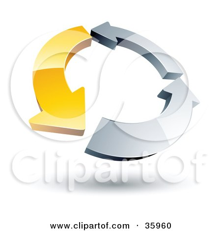 Clipart Illustration of a Pre-Made Logo Of A Circle Of One Yellow Arrow And Two Chrome Arrows by beboy