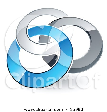 Clipart Illustration of a Pre-Made Logo Of Silver, Gray And Blue Rings Entwined by beboy