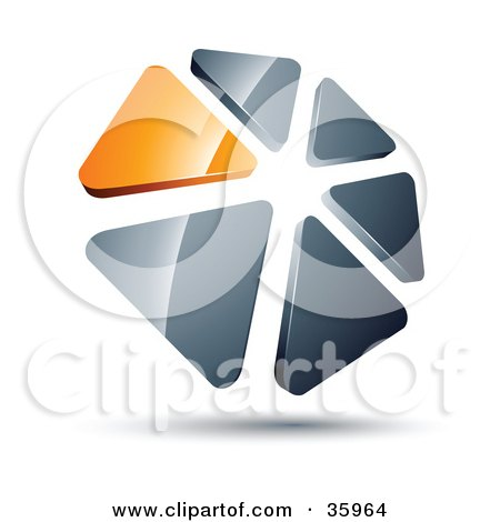 Clipart Illustration of a Pre-Made Logo Of A Circle Of Orange And Silver Triangles by beboy