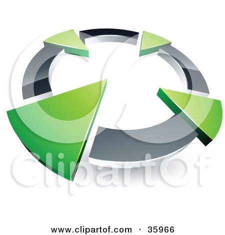 Pre-Made Logo Of A Chrome Circle With Four Green Arrows Pointing ...