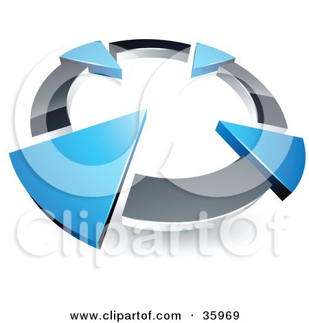 Clipart Illustration of a Pre-Made Logo Of A Chrome Circle With Four Blue Arrows Pointing Inwards by beboy