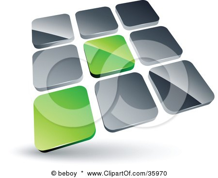 Clipart Illustration of a Pre-Made Logo Of Two Green Tiles Standing Out From Rows Of Silver Tiles by beboy