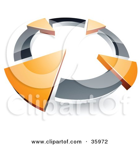 Clipart Illustration of a Pre-Made Logo Of A Chrome Circle With Four Orange Arrows Pointing Inwards by beboy