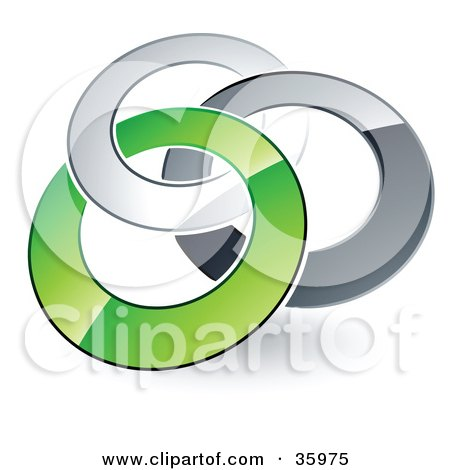 Clipart Illustration of a Pre-Made Logo Of Silver, Gray And Green Rings Entwined by beboy